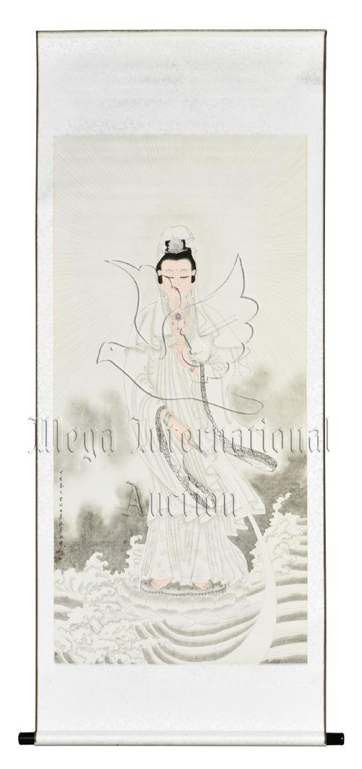 BAI JIAO: INK AND COLOR ON PAPER PAINTING 'GUANYIN'