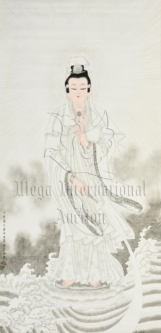 BAI JIAO: INK AND COLOR ON PAPER PAINTING 'GUANYIN' - 2