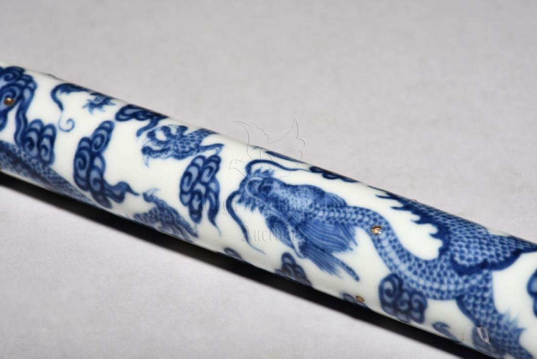 BLUE AND WHITE 'DRAGON' PIPE - 5