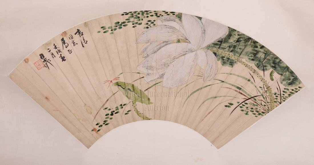 XIE ZHILIU: INK AND COLOR ON FAN LEAF PAINTING