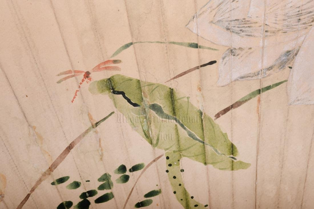 XIE ZHILIU: INK AND COLOR ON FAN LEAF PAINTING - 3