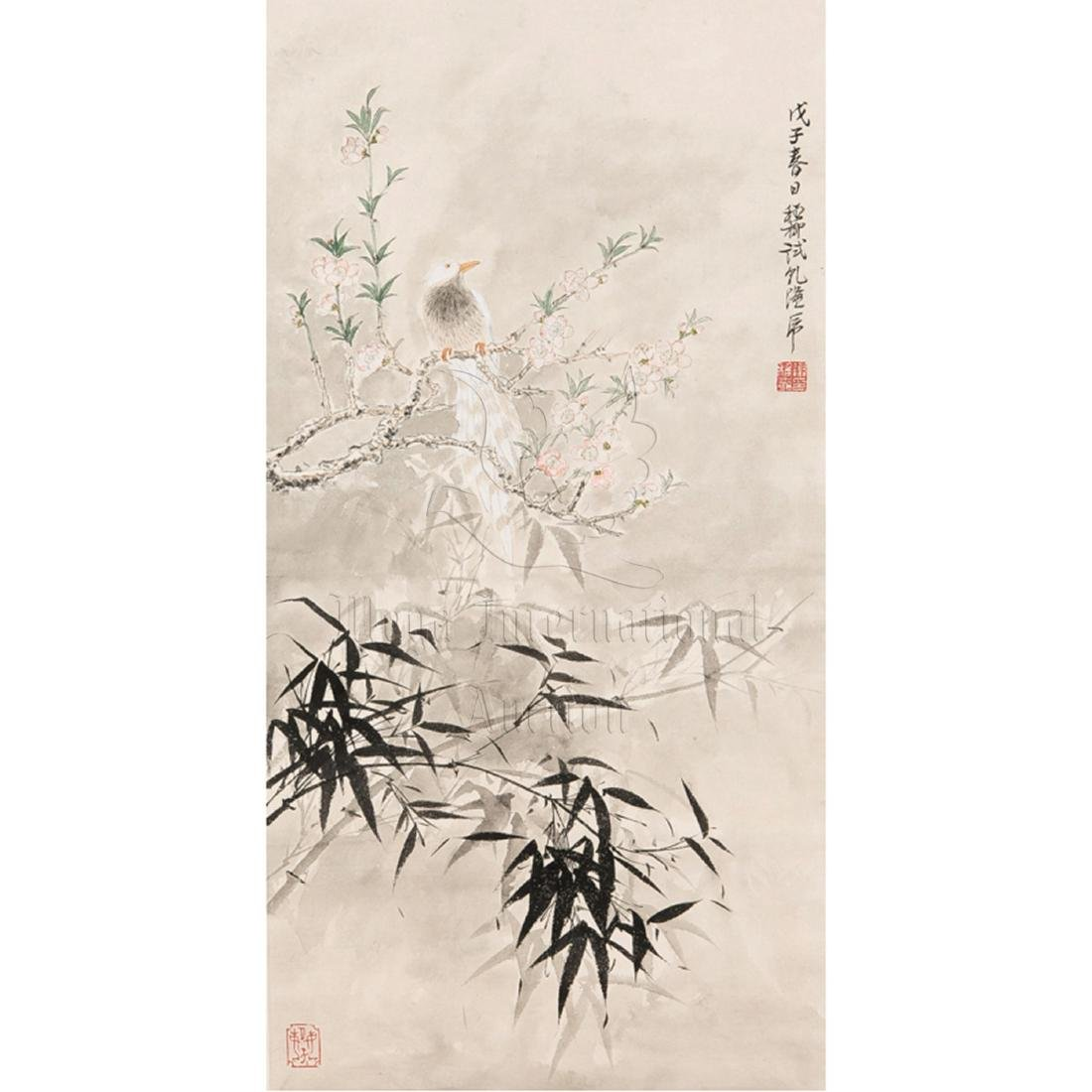 XIE ZHILIU: INK AND COLOR ON PAPER PAINTING 'BIRDS AND