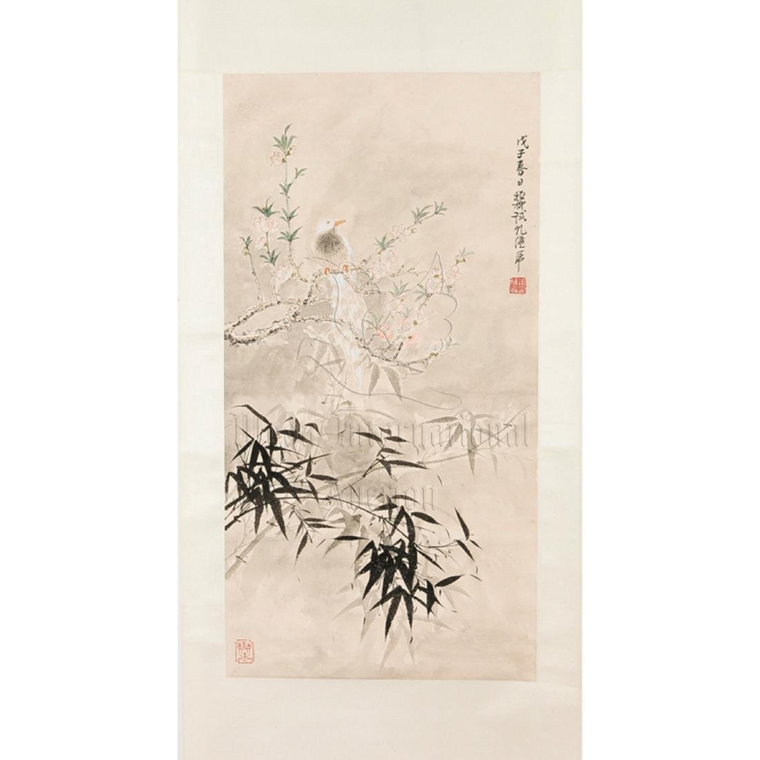 XIE ZHILIU: INK AND COLOR ON PAPER PAINTING 'BIRDS AND - 2