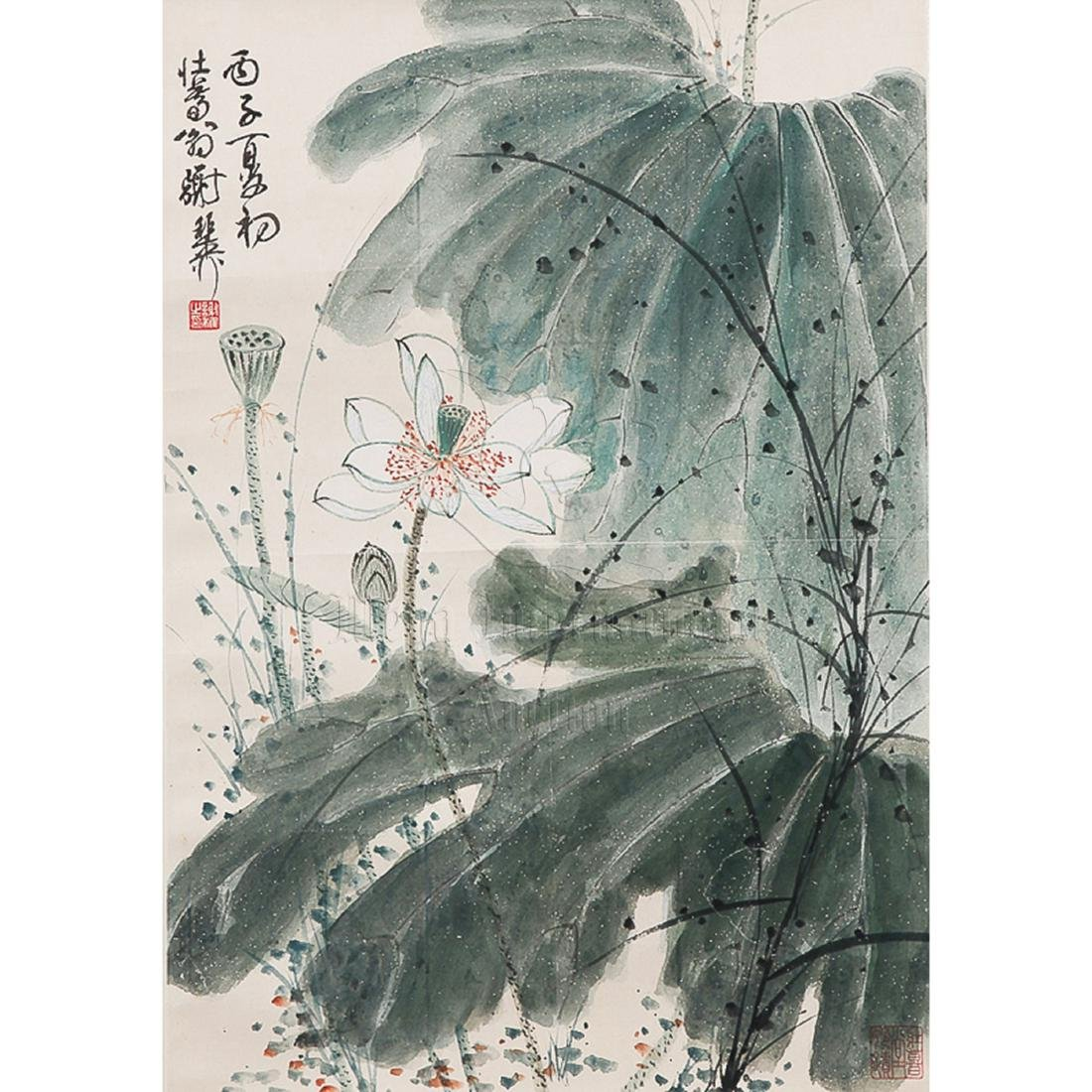 XIE ZHILIU: INK AND COLOR ON PAPER PAINTING 'LOTUS