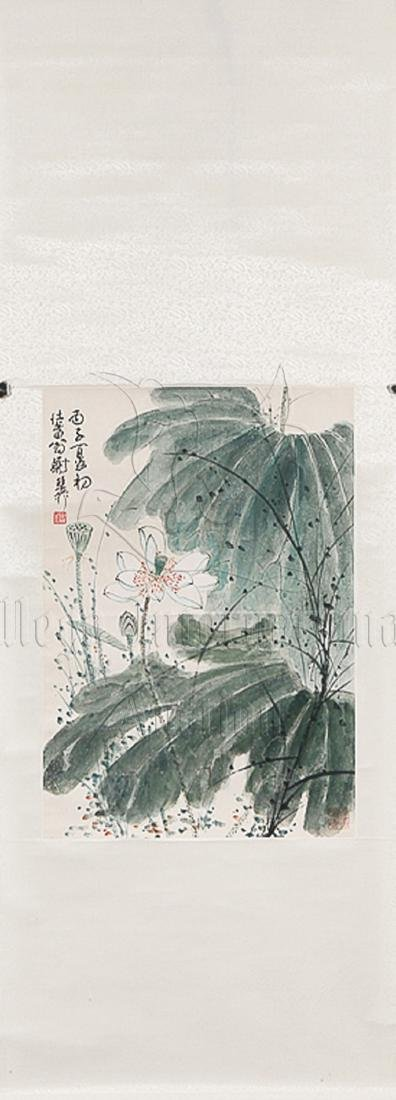 XIE ZHILIU: INK AND COLOR ON PAPER PAINTING 'LOTUS - 2