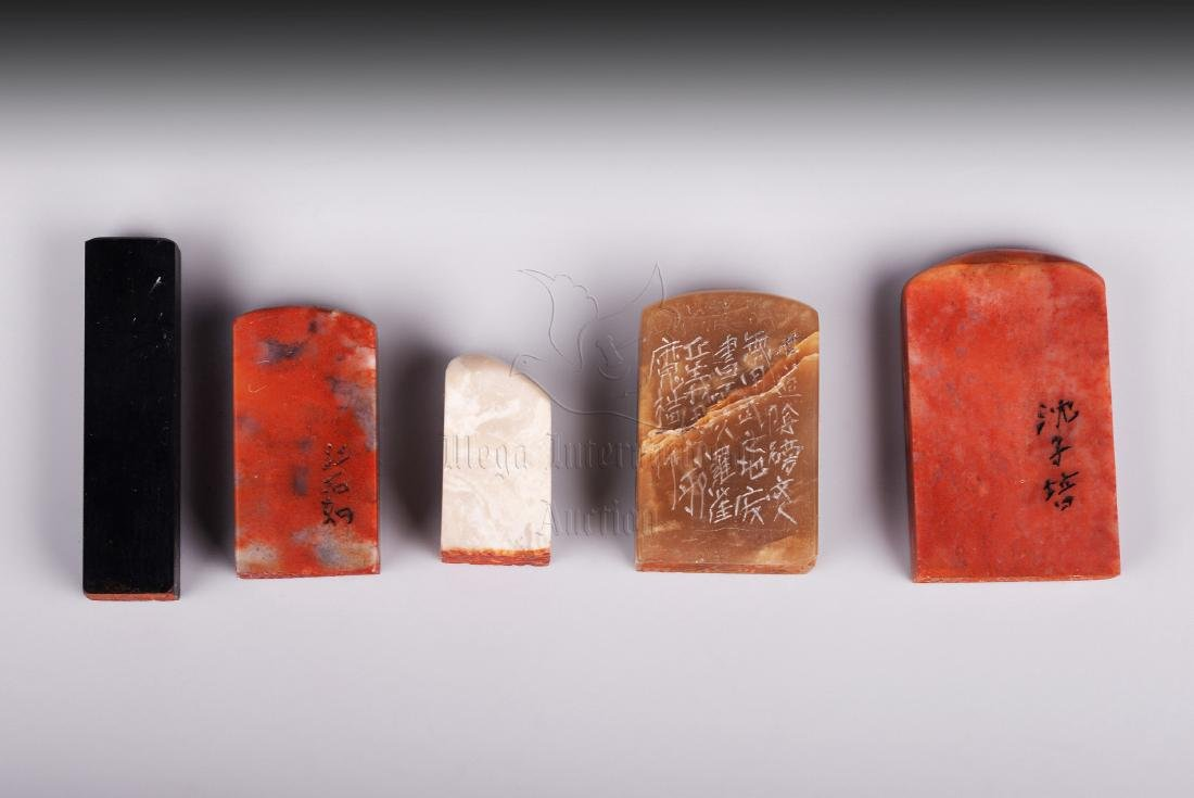GROUP OF FIVE SHOUSHAN SOAPSTONE STAMP SEALS - 2