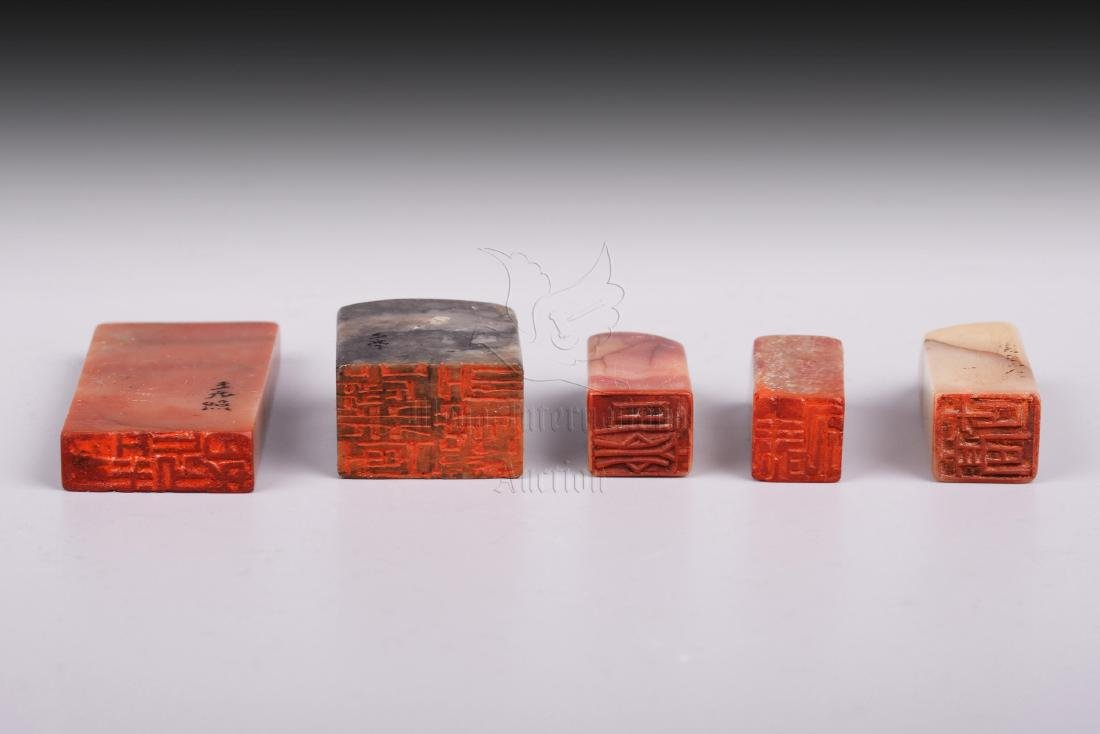 GROUP OF FIVE SHOUSHAN SOAPSTONE STAMP SEALS