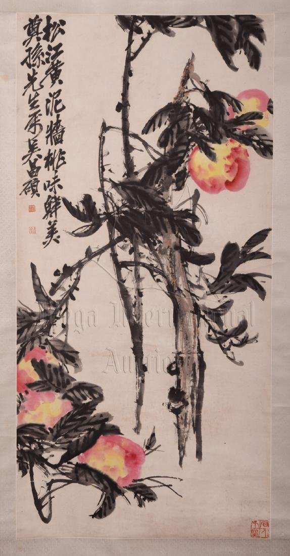 WU CHANGSHUO: INK AND COLOR ON PAPER PAINTING 'PEACHES'