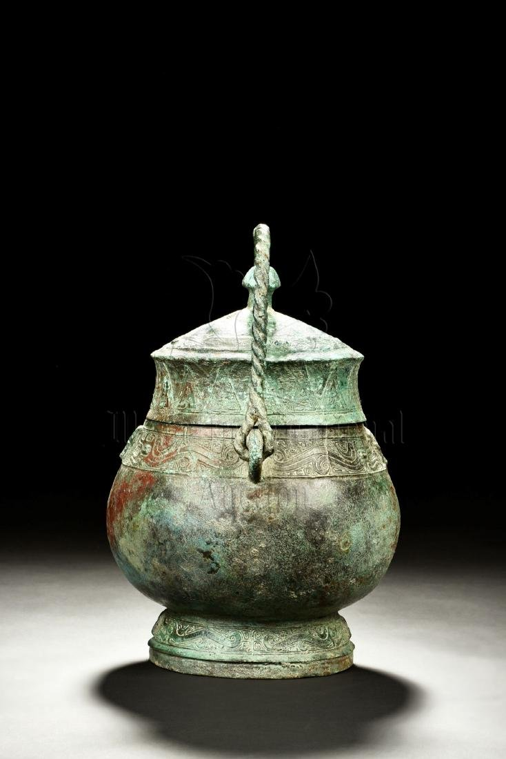ARCHAIC BRONZE CAST RITUAL VESSEL, YOU - 3