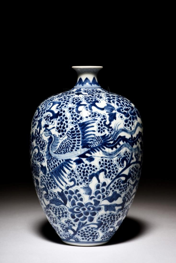 BLUE AND WHITE 'PHOENIX' VASE - 2