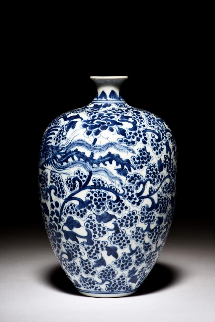 BLUE AND WHITE 'PHOENIX' VASE - 3