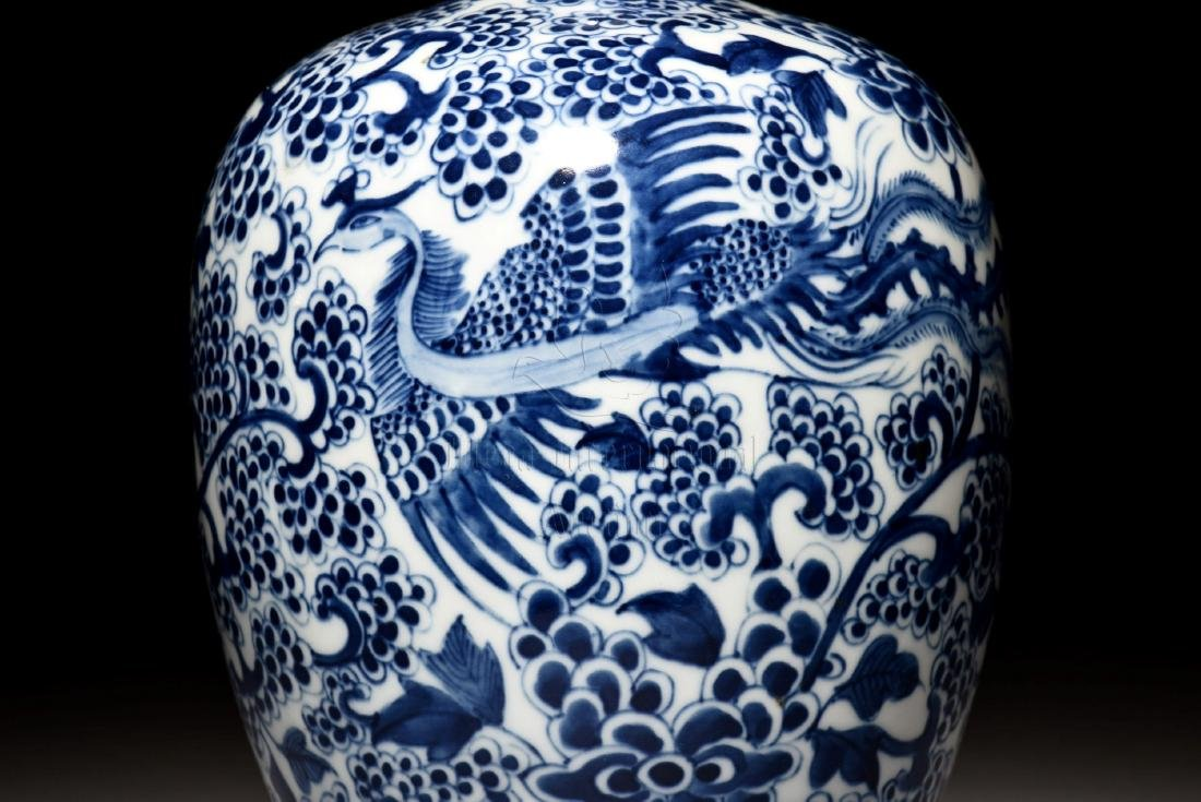 BLUE AND WHITE 'PHOENIX' VASE - 5