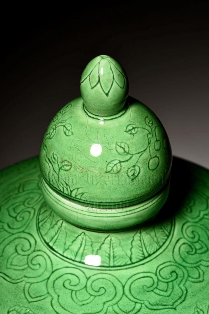 GREEN GLAZED VASE WITH COVER, MEIPING - 9