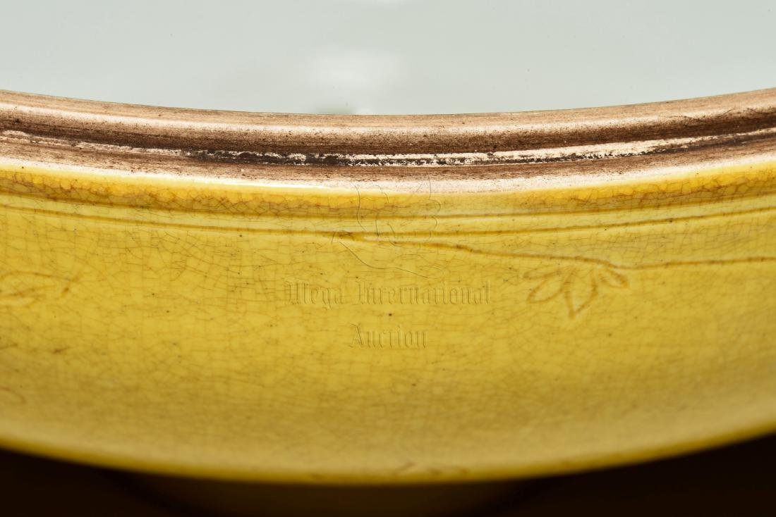 YELLOW GLAZED AND CARVED 'FLOWERS' JAR WITH COVER - 10