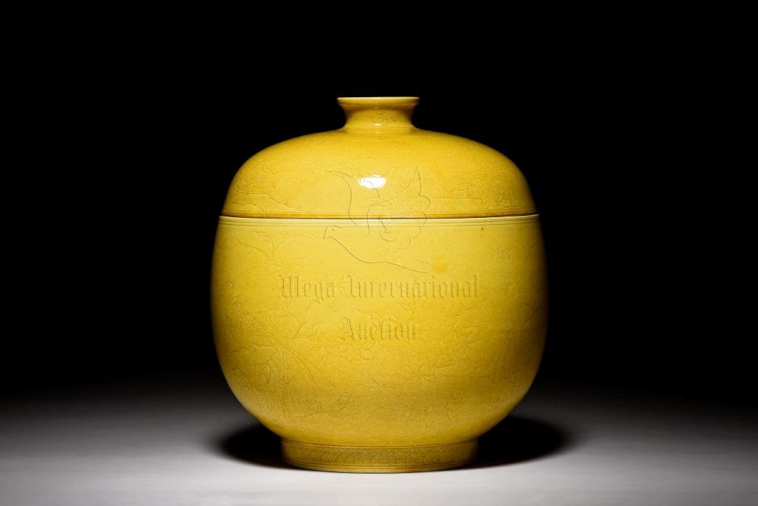 YELLOW GLAZED AND CARVED 'FLOWERS' JAR WITH COVER - 2