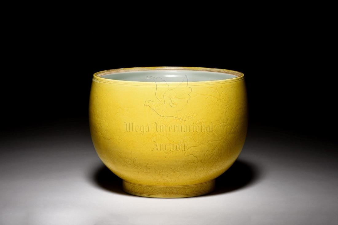 YELLOW GLAZED AND CARVED 'FLOWERS' JAR WITH COVER - 3