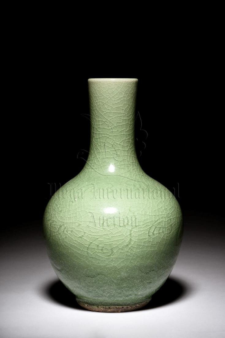 CELADON GLAZED AND IMPRESSED VASE - 2