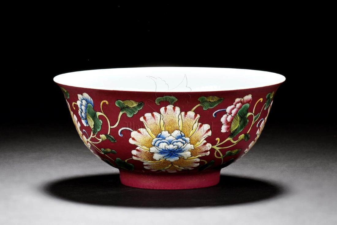 FAMILLE ROSE 'FLOWERS' BOWL
