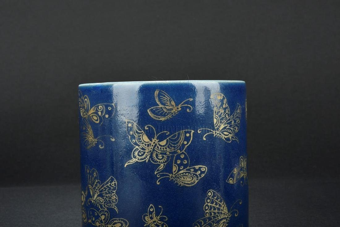 BLUE GLAZE AND GILT DECORATED BRUSH POT - 2