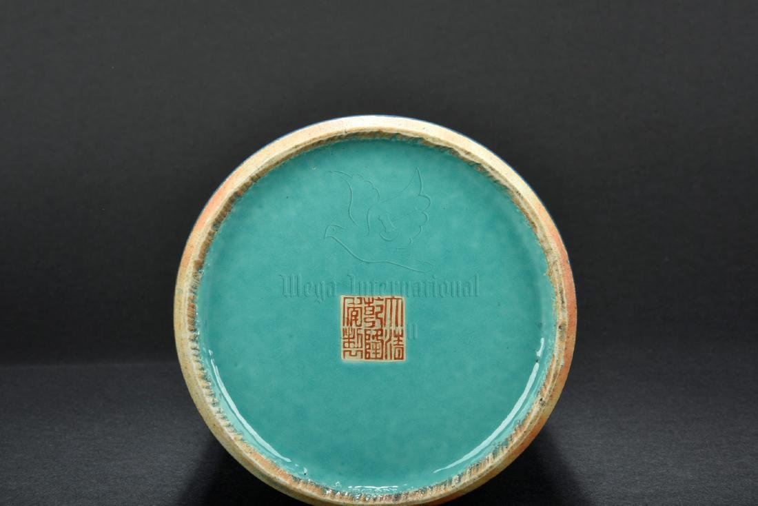 BLUE GLAZE AND GILT DECORATED BRUSH POT - 5