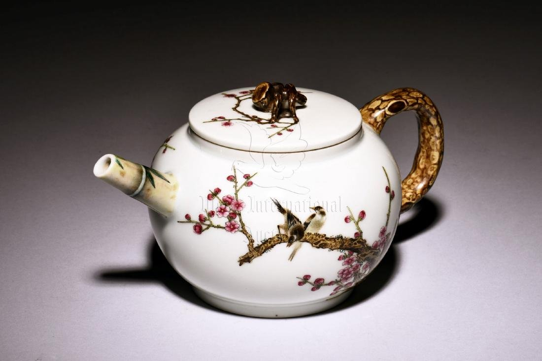 ENAMEL PAINTED 'BIRDS AND FLOWERS' TEAPOT