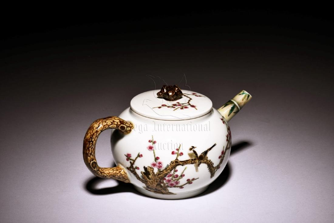 ENAMEL PAINTED 'BIRDS AND FLOWERS' TEAPOT - 2