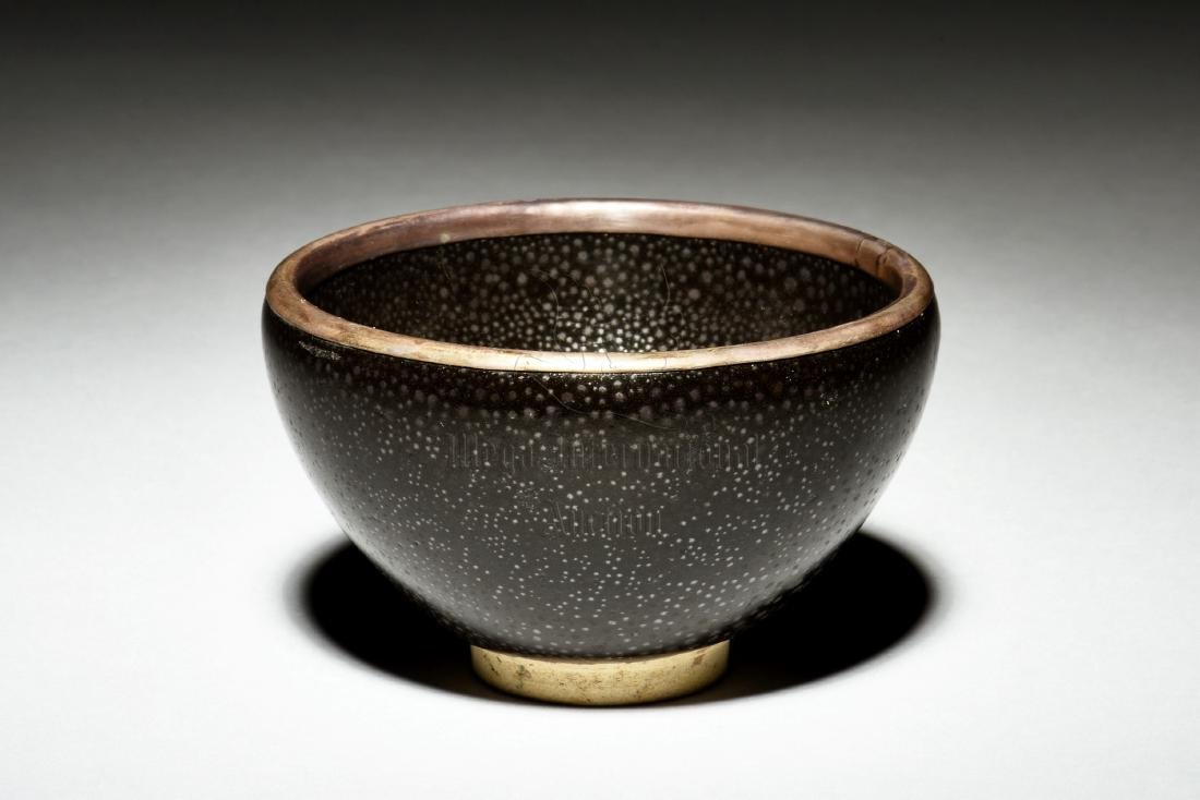 BLACK GLAZED 'OIL DRIP' BOWL