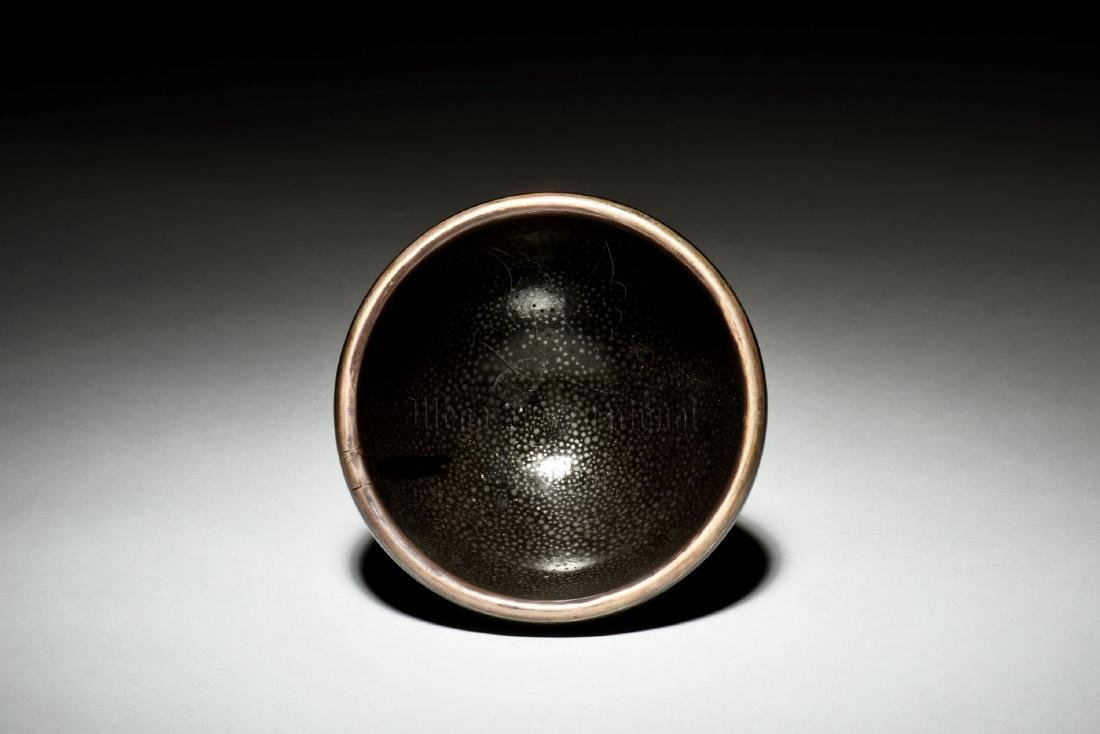 BLACK GLAZED 'OIL DRIP' BOWL - 5