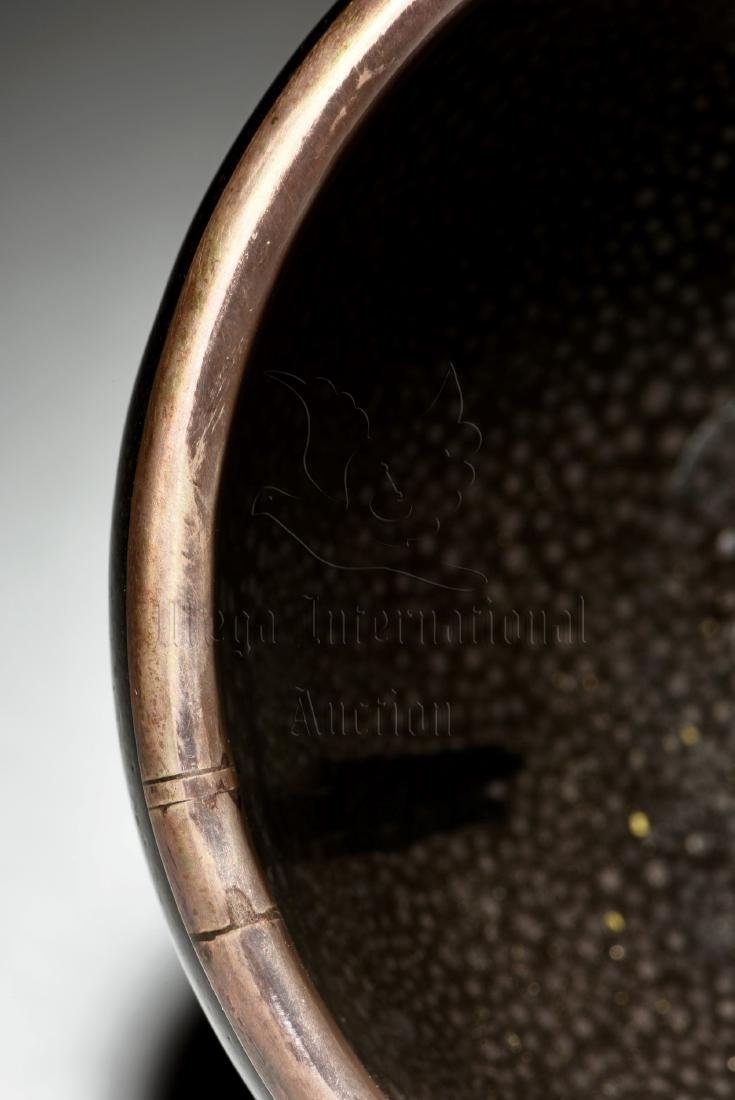 BLACK GLAZED 'OIL DRIP' BOWL - 6