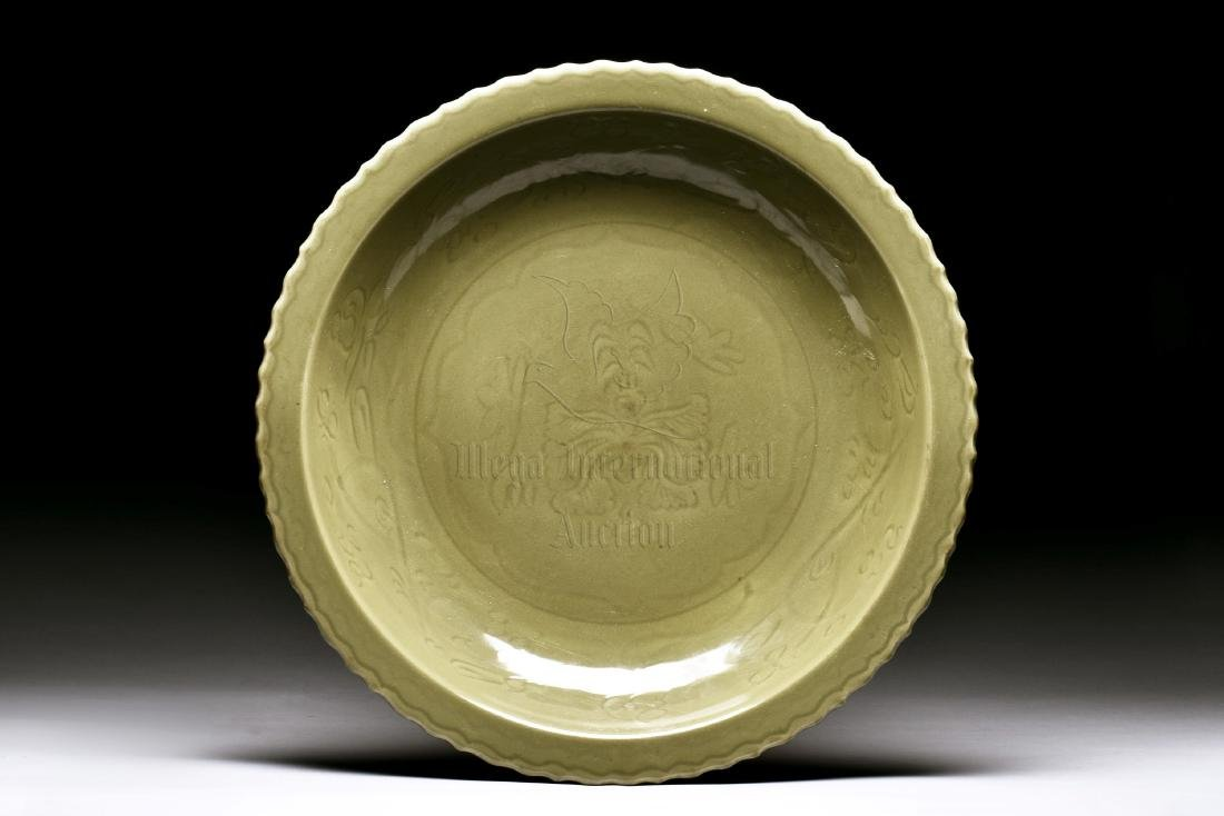 LONGQUAN WARE IMPRESSED 'FLOWERS' CHARGER