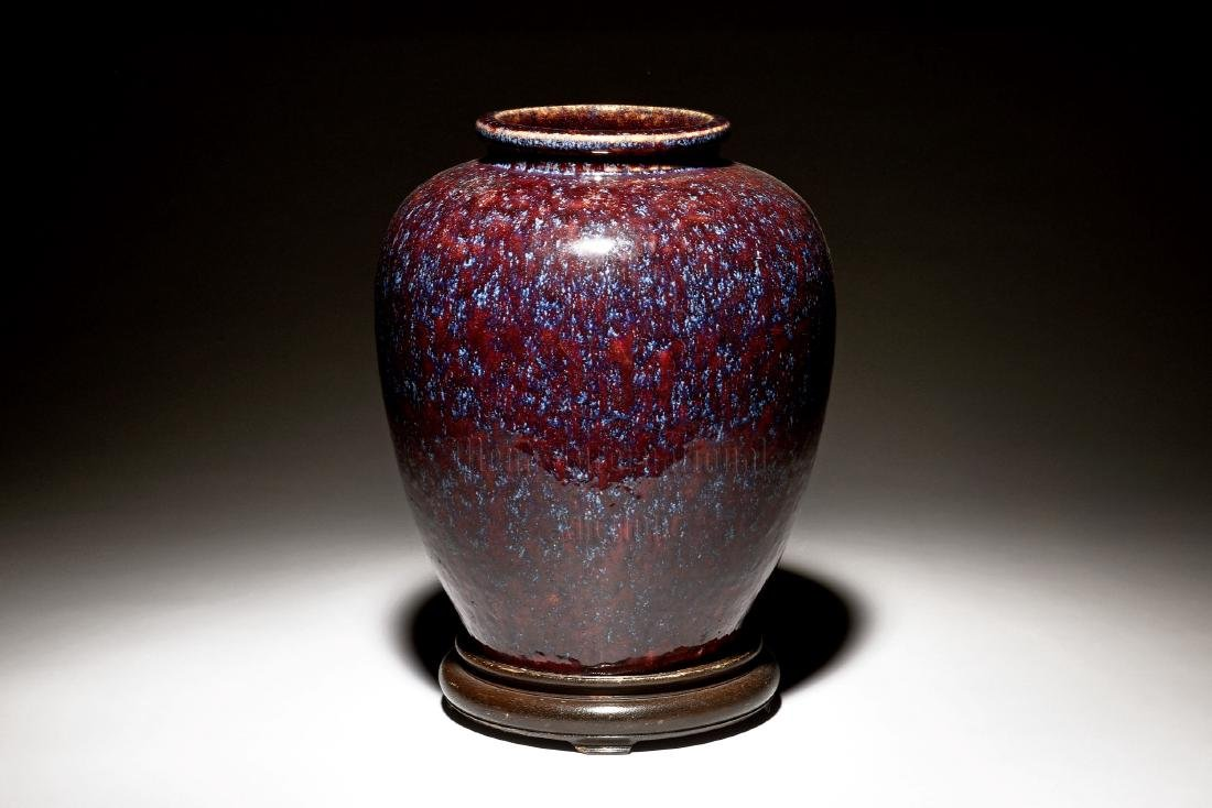 JUN WARE JAR WITH WOODEN STAND