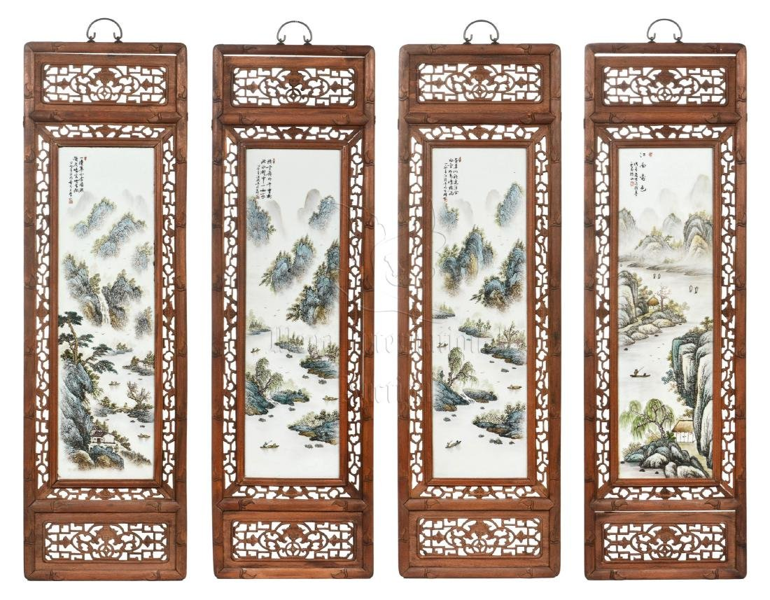 WANG YETING: SET OF FOUR FAMILLE ROSE FRAMED PLAQUES