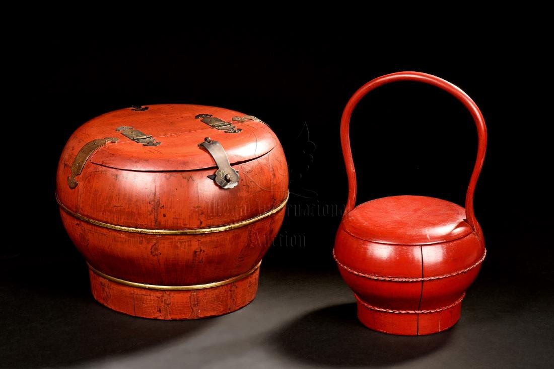 TWO RED LACQUER BOXES