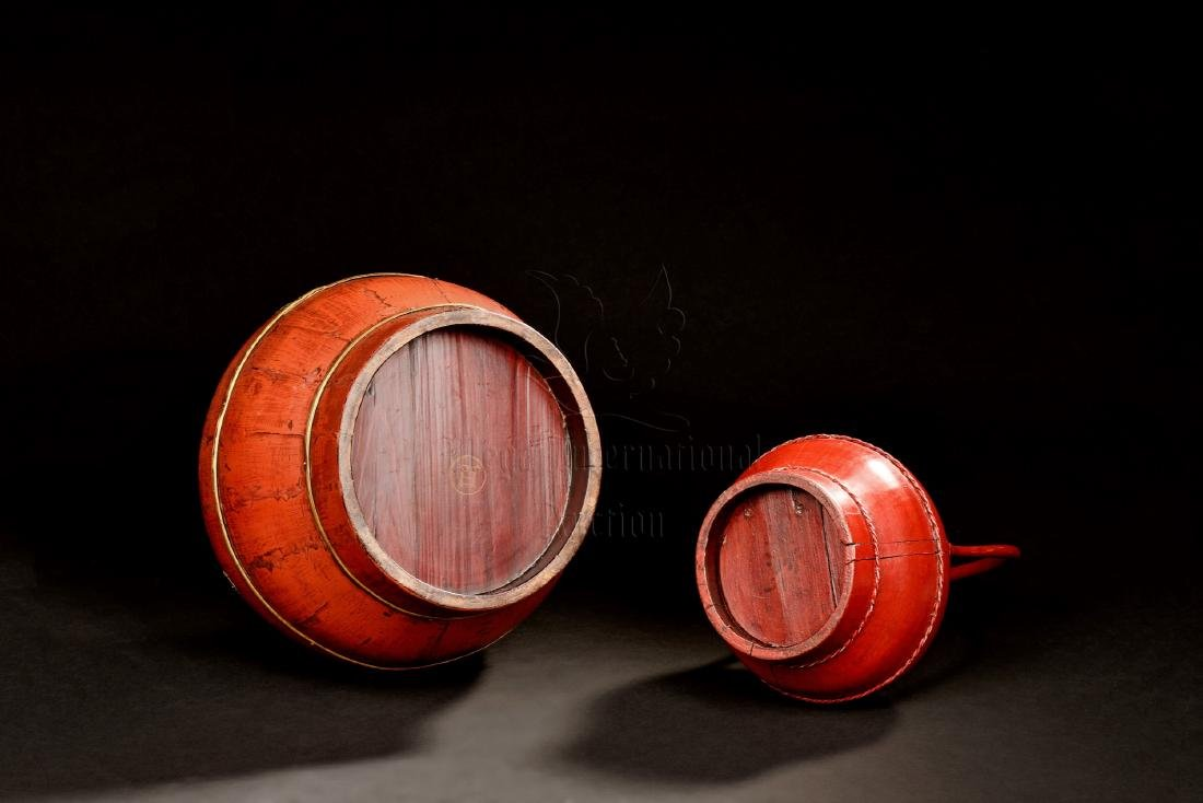TWO RED LACQUER BOXES - 2