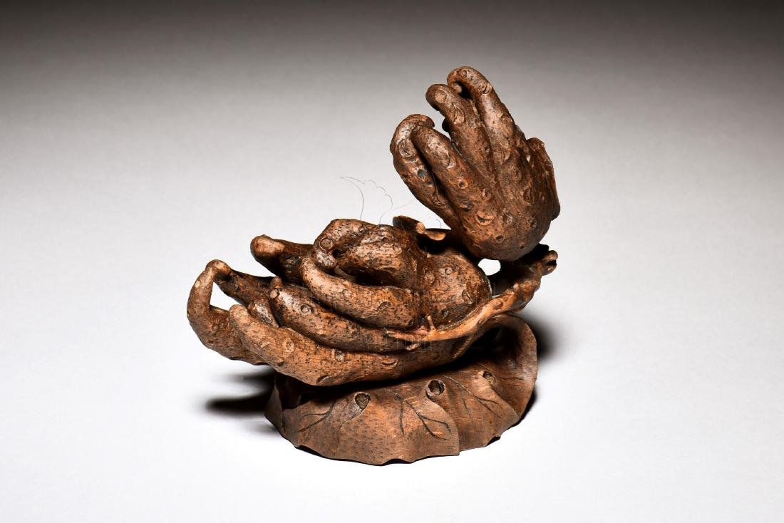 BAMBOO CARVED BUDDHA'S HAND FIGURE