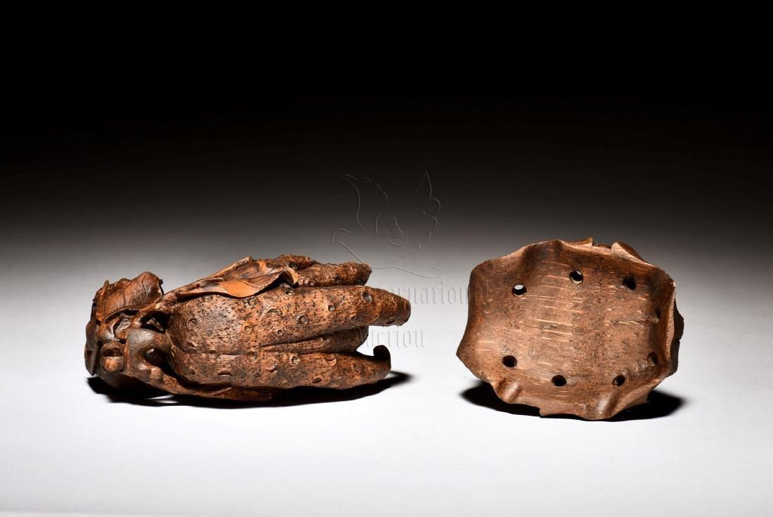 BAMBOO CARVED BUDDHA'S HAND FIGURE - 3