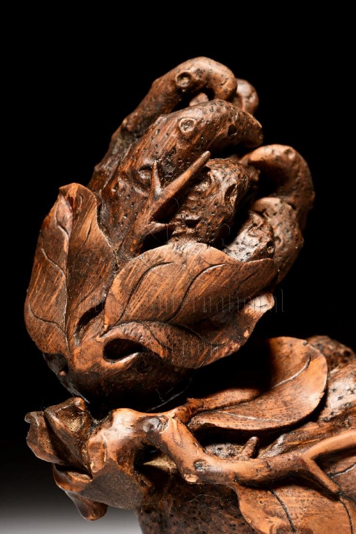 BAMBOO CARVED BUDDHA'S HAND FIGURE - 5