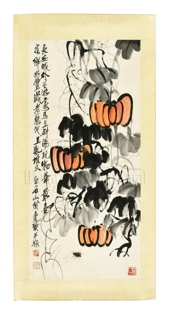 QI BAISHI: INK AND COLOR ON PAPER PAINTING 'PUMPKINS'