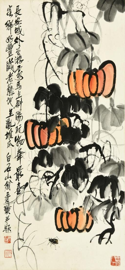 QI BAISHI: INK AND COLOR ON PAPER PAINTING 'PUMPKINS' - 2