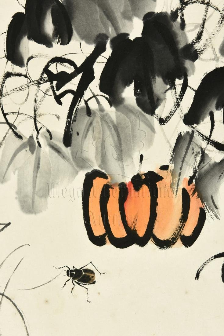 QI BAISHI: INK AND COLOR ON PAPER PAINTING 'PUMPKINS' - 4