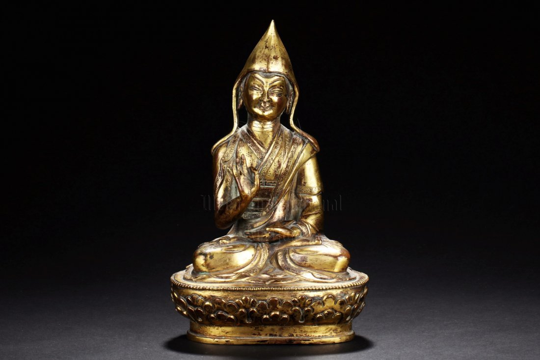 GILT BRONZE LAMA FIGURE