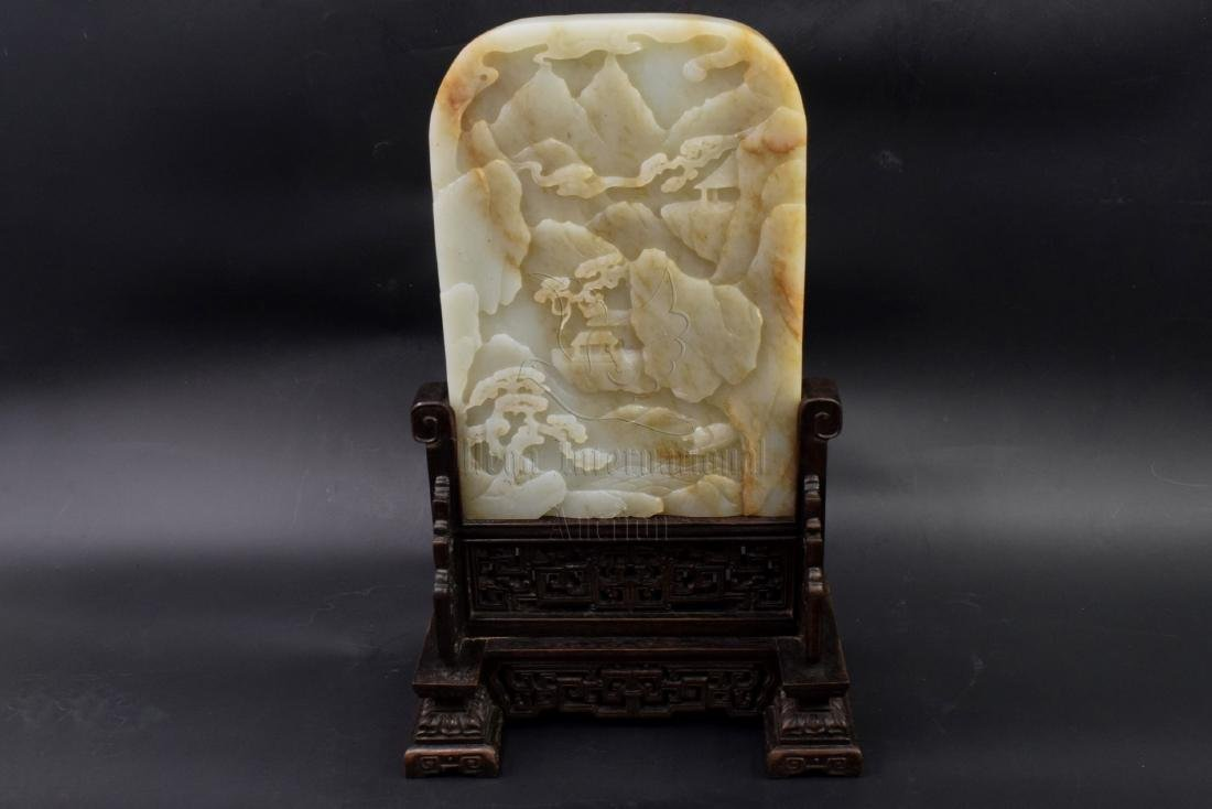 HETIAN JADE CARVED TABLE SCREEN WITH WOODEN STAND