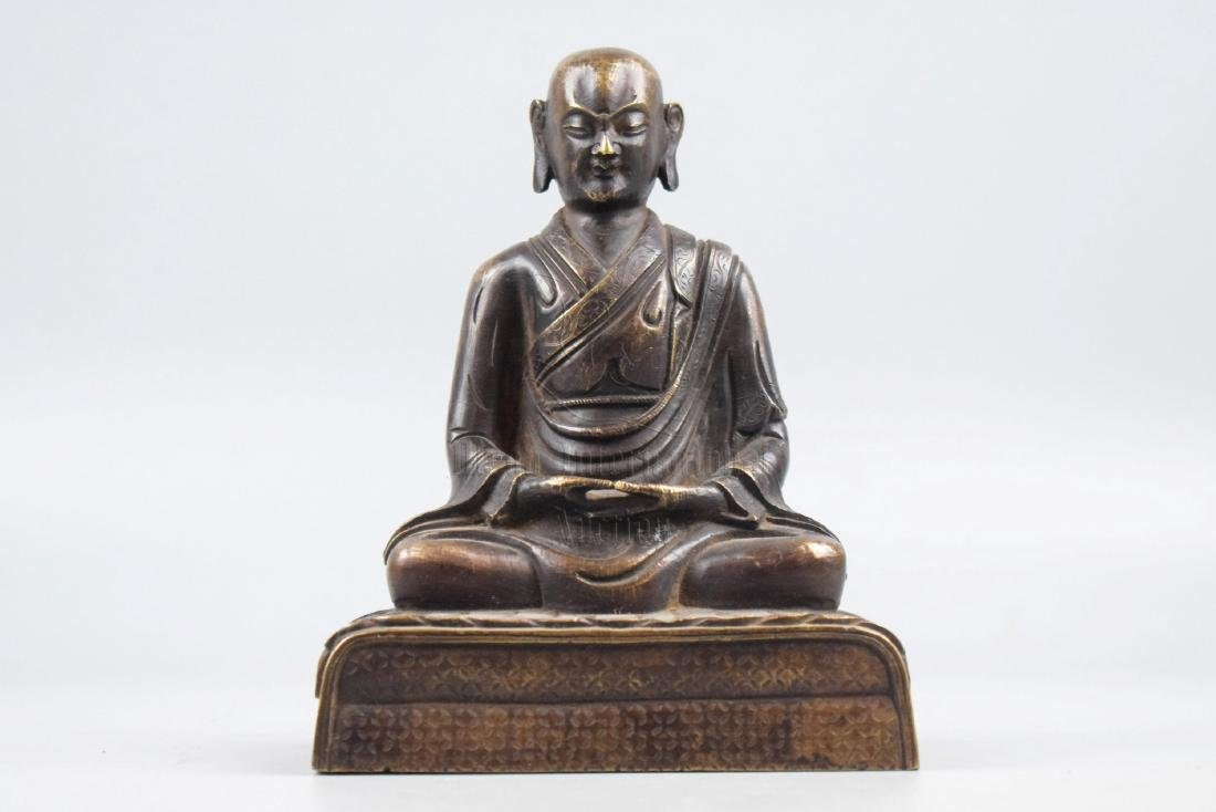 BRONZE CAST ARHAT SEATED FIGURE