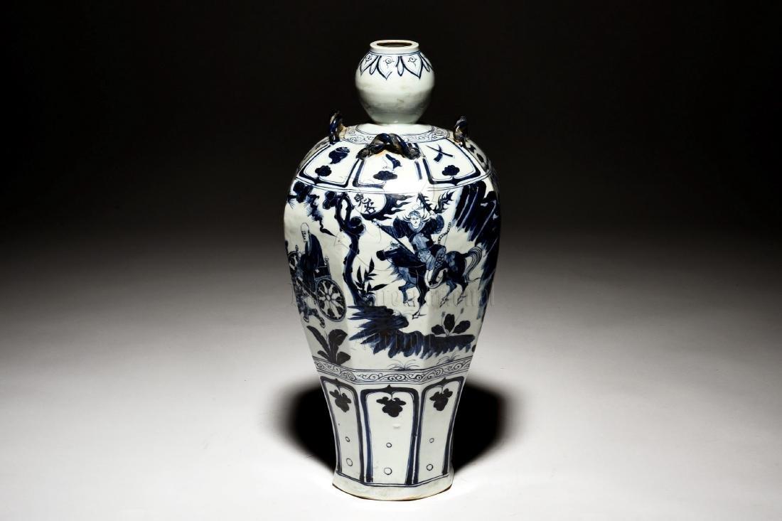 BLUE AND WHITE OCTAGONAL 'WARRIORS' VASE