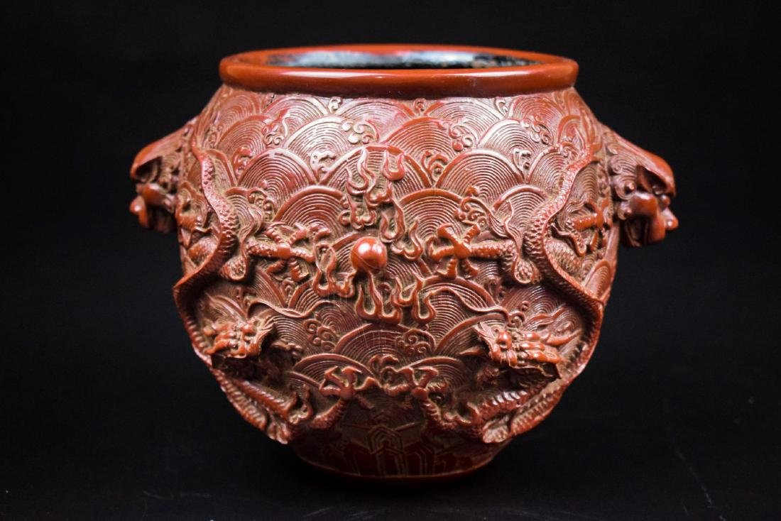 CINNABAR LACQUER CARVED 'DOUBLE DRAGON' JARDINIERE