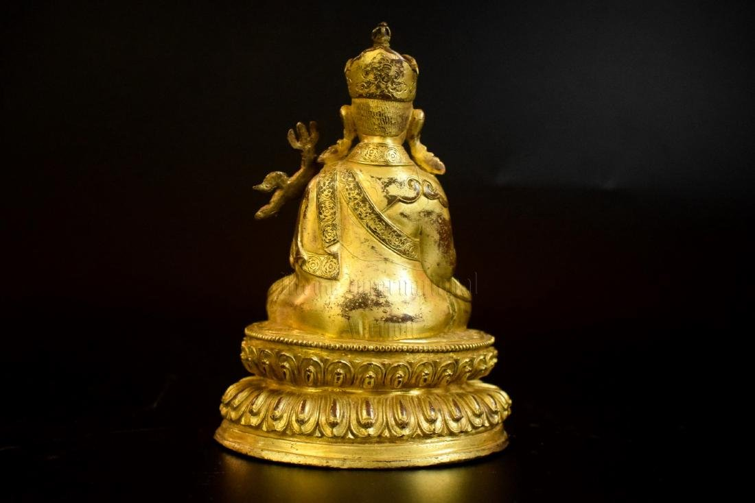 GILT BRONZE CAST 'PADMASAMBHAVA' SEATED FIGURE - 4