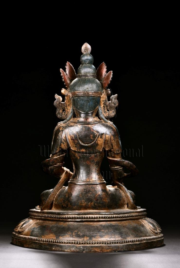 RED COPPER AND SPLASH GILT SEATED GUANYIN FIGURE - 4