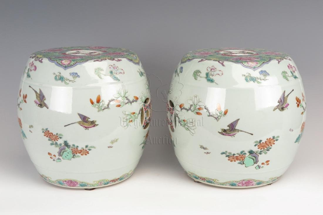 PAIR OF FAMILLE ROSE 'BIRDS AND FLOWERS' GARDEN STOOLS