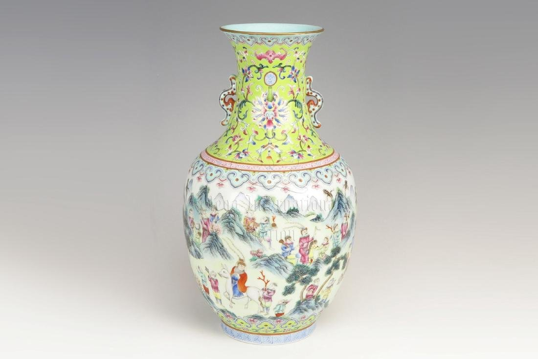 FAMILLE ROSE 'HUNTING' VASE WITH HANDLES