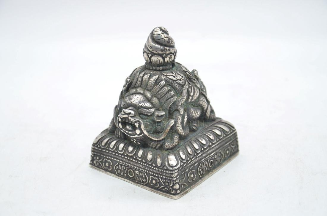 SILVER CAST 'MYTHICAL LION' STAMP SEAL